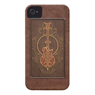 Guitarra de cuero compleja de Brown Carcasa Para iPhone 4