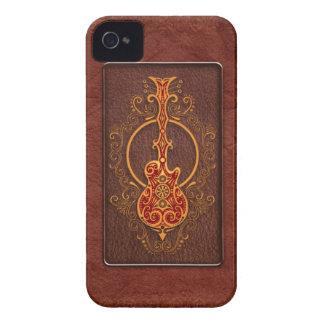 Guitarra de cuero roja compleja iPhone 4 fundas