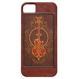 Guitarra de cuero roja compleja funda para iPhone SE/5/5s