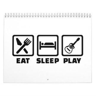 Guitarra de Eat Sleep Play Calendario De Pared