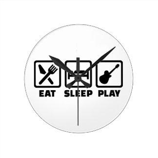 Guitarra de Eat Sleep Play Relojes De Pared