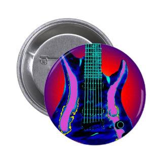 Guitarra de la acuarela pin redondo de 2 pulgadas