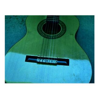 Guitarra de la aguamarina postales