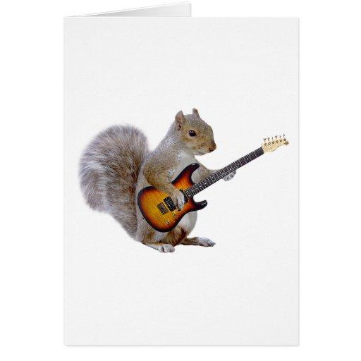 Guitarra de la ardilla tarjeta de felicitación