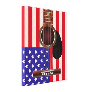 Guitarra de la bandera americana lona estirada galerías