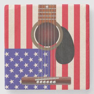 Guitarra de la bandera americana posavasos de piedra