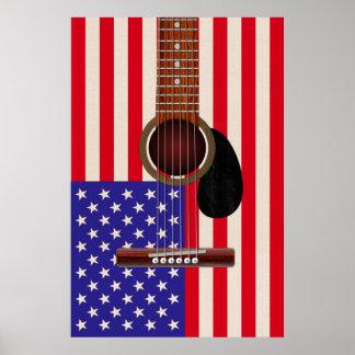 Guitarra de la bandera americana póster
