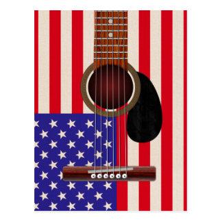 Guitarra de la bandera americana tarjetas postales