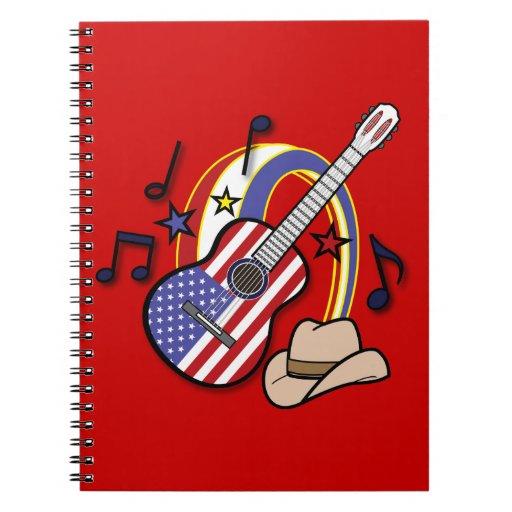 Guitarra de la bandera de país libro de apuntes
