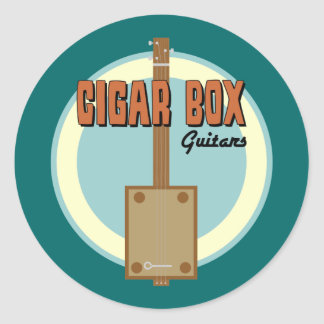 Guitarra de la caja de cigarros pegatina redonda