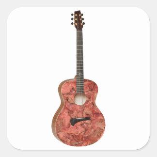 Guitarra de la carne del zombi pegatina cuadrada