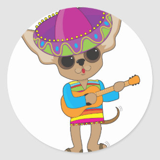 Guitarra de la chihuahua pegatina redonda