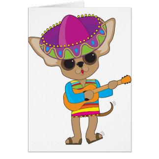 Guitarra de la chihuahua tarjeta de felicitación