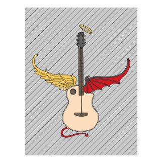 Guitarra de la doble personalidad (con halo de la tarjeta postal