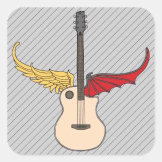 Guitarra de la doble personalidad pegatina cuadrada