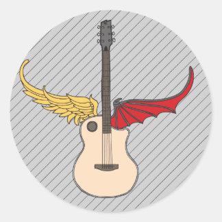 Guitarra de la doble personalidad pegatina redonda