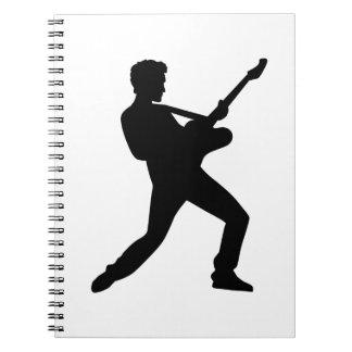 Guitarra de la estrella del rock libro de apuntes