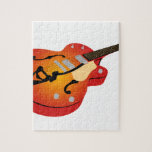 Guitarra de la explosión del naranja puzzles con fotos