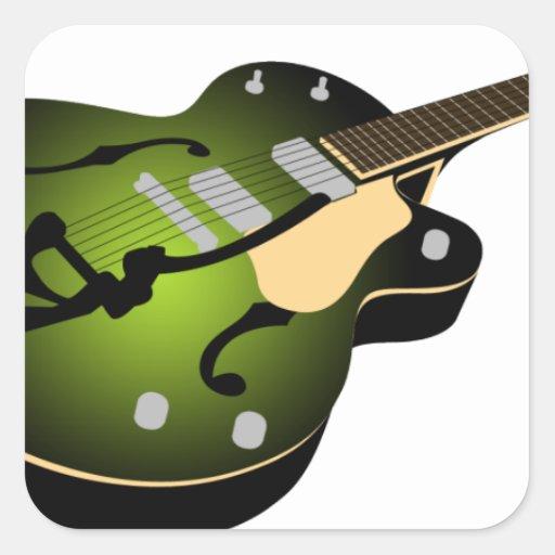 Guitarra de la explosión del verde pegatina cuadrada