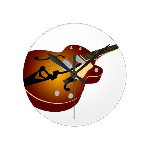 Guitarra de la explosión del vintage reloj de pared