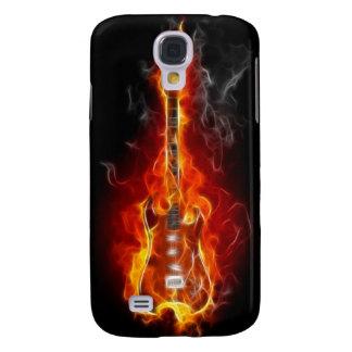 Guitarra de la roca y del rollo en llamas funda para galaxy s4