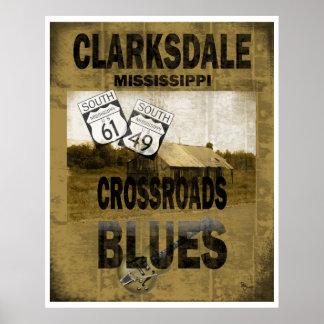 Guitarra de los azules de los cruces de Clarksdale Impresiones