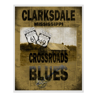 Guitarra de los azules de los cruces de Clarksdale Póster