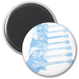 Guitarra de los azules imanes de nevera