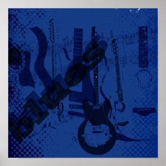 guitarra de los azules póster
