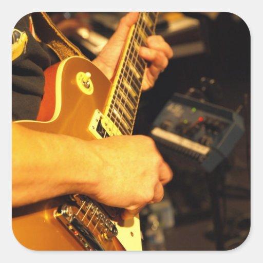 Guitarra de Rockin Pegatina Cuadrada