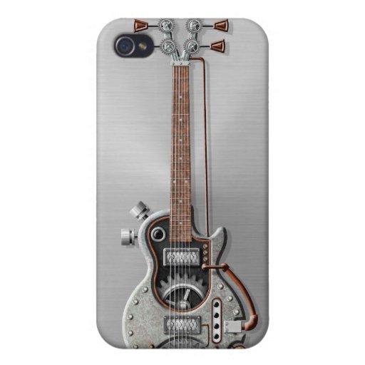 Guitarra de Steampunk en el acero iPhone 4 Funda