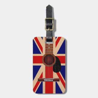 Guitarra de Union Jack Etiquetas De Equipaje