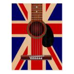 Guitarra de Union Jack Tarjetas Postales