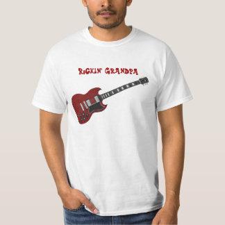 Guitarra del abuelo de Rockin, roja y negra Playera
