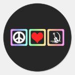 Guitarra del amor de la paz etiquetas redondas