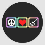 Guitarra del amor de la paz pegatina redonda