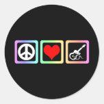 Guitarra del amor de la paz pegatinas