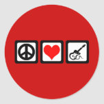 Guitarra del amor de la paz pegatinas redondas