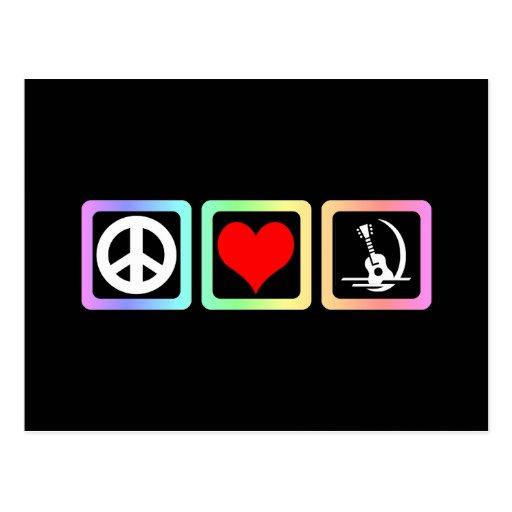 Guitarra del amor de la paz postal