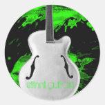 guitarra del archtop pegatina redonda