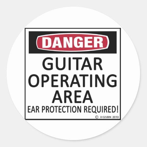 Guitarra del área de funcionamiento pegatina redonda
