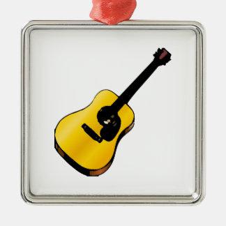 Guitarra del arte pop adorno navideño cuadrado de metal