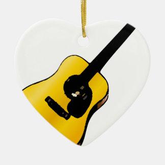 Guitarra del arte pop adorno navideño de cerámica en forma de corazón