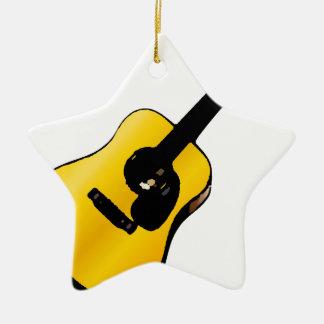 Guitarra del arte pop adorno navideño de cerámica en forma de estrella