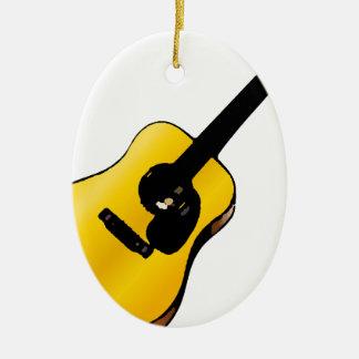 Guitarra del arte pop adorno navideño ovalado de cerámica