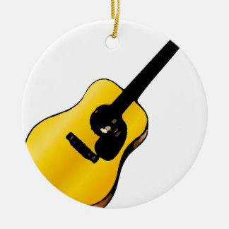 Guitarra del arte pop adorno navideño redondo de cerámica