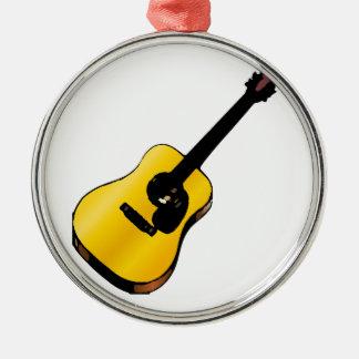 Guitarra del arte pop adorno navideño redondo de metal