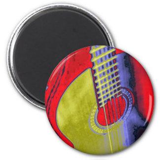 Guitarra del arte pop imán redondo 5 cm
