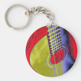 Guitarra del arte pop llavero redondo tipo pin