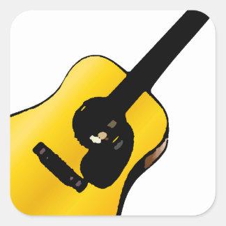Guitarra del arte pop pegatina cuadrada
